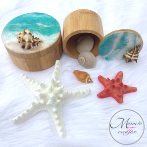 Resin beach art on bamboo canisters - Set of 2 - Mamota Creative
