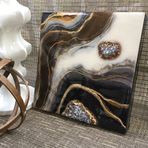 3D Resin Geode in classic black and white with browns and gold tones with crushed glass - Mamota Creative