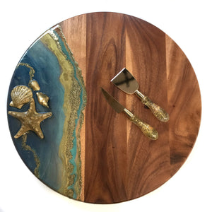 LAZY SUSAN WITH RESIN ART IN TURQUOISE AND GOLD WAVES