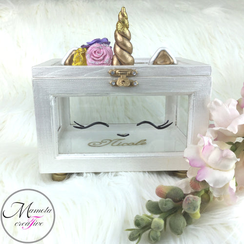Personalized Unicorn Glass Jewelry Box - the perfect gift for a baptism - communion - flower girl - birthday - Mamota Creative
