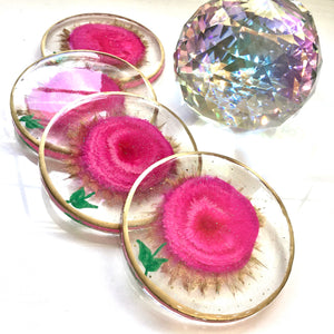 Alcohol ink hot pink flower coasters - Mamota Creative