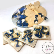 Load image into Gallery viewer, Resin Art with Abstract Design Coasters - Blue and Cream - Set of 4 - Mamota Creative