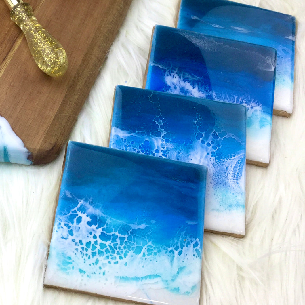 Deep Blue Ocean Waves Set of Coasters -  Mamota Creative
