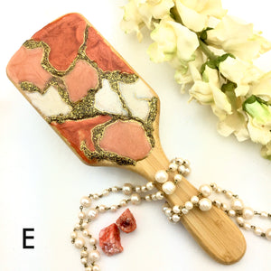Rusty orange multi color resin art detangling spa hairbrush - Mamota Creative