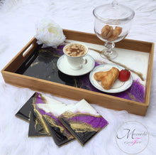 Load image into Gallery viewer, Resin Bamboo Decorative Seriving Tray with Coasters Set in Purple-Black and White - Mamota Creative