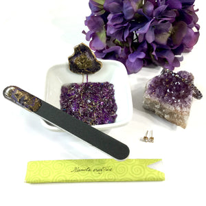 Amethyst manicure bowl with nail file set with resin art ring dish - Mamota Creative