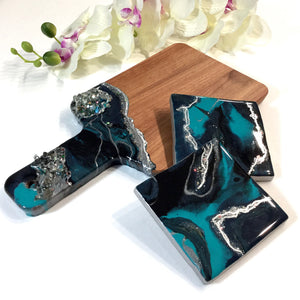 Turquoise and Silver Geode Cheese Board