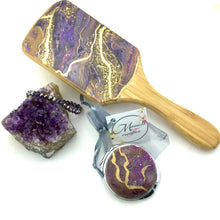 Load image into Gallery viewer, Spa detangler bamboo hair brush with amethyst resin art and matching compact mirror - Mamota Creative