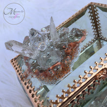Load image into Gallery viewer, Resin Art and Crystal Quartz on Beveled Glass Jewelry Box with Copper Frame - Mamota Creative