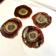 Load image into Gallery viewer, Burgundy purple geode resin coasters - Mamota Creative