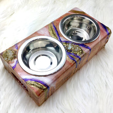 Load image into Gallery viewer, Small Elevated Double Stainless Steel Bowl Pet Feeder in Rusty Colors - Mamota Creative