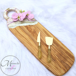 Orchid Resin Cheese Board on Olive Wood with Matching Bowl and Spoon Rest Set - Mamota Creative