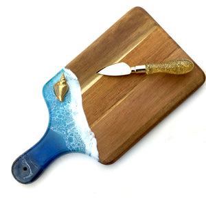 Ocean Wave Cheeseboard with Gold Shell - Mamota Creative