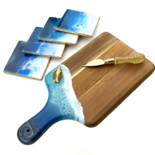 Load image into Gallery viewer, Ocean Waves Cheeseboard with Gold Shell and matching coasters - Mamota Creative