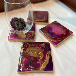 Burgundy Purple Geode Square Coasters - Set of 4