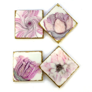 ALCOHOL INK FLOWERS IN RESIN ART COASTERS