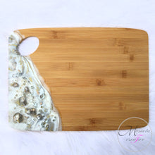 Load image into Gallery viewer, White, Silver and Gold Resin Bamboo cheese board - Mamota Creative