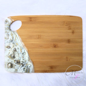White, Silver and Gold Resin Bamboo cheese board - Mamota Creative
