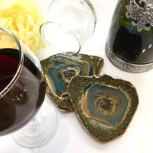 Load image into Gallery viewer, BLUE SPARKLE RESIN GEODE COASTERS FOR 2 - ASSORTED SHAPES