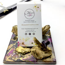 Load image into Gallery viewer, Geode Style Business Card Holder In purple and gold - Mamota Creative