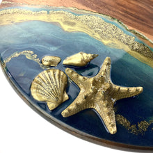 Load image into Gallery viewer, LAZY SUSAN WITH RESIN ART IN TURQUOISE AND GOLD WAVES