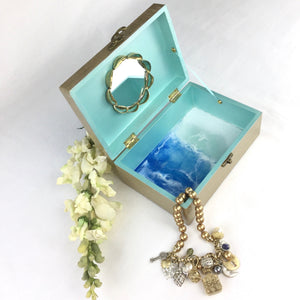 Champagne Jewelry Box with Seashells - Ocean Theme Resin Art