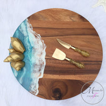 Load image into Gallery viewer, Resin Ocean with Gold Shells on Acacia Wood Lazy Susan - 18 in. Diameter - Mamota Creative