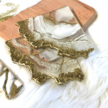 Load image into Gallery viewer, White Pearl Geode Coasters with Gold Stones