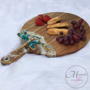 Resin Art on Round Cheese Board - Dragon Fly - Mamota Creative