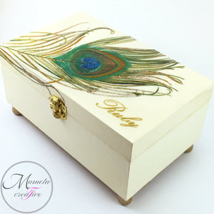 customizable and personalized Peacock Feather Jewelry Box - Mamota Creative