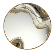 Load image into Gallery viewer, Agate round mirror in neutral colors with quartz  - Mamota Creative