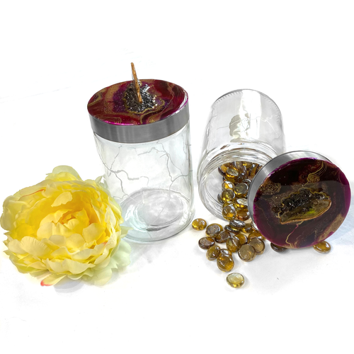 set of two kintsugi canisters with burgundy geode lids - Mamota Creative