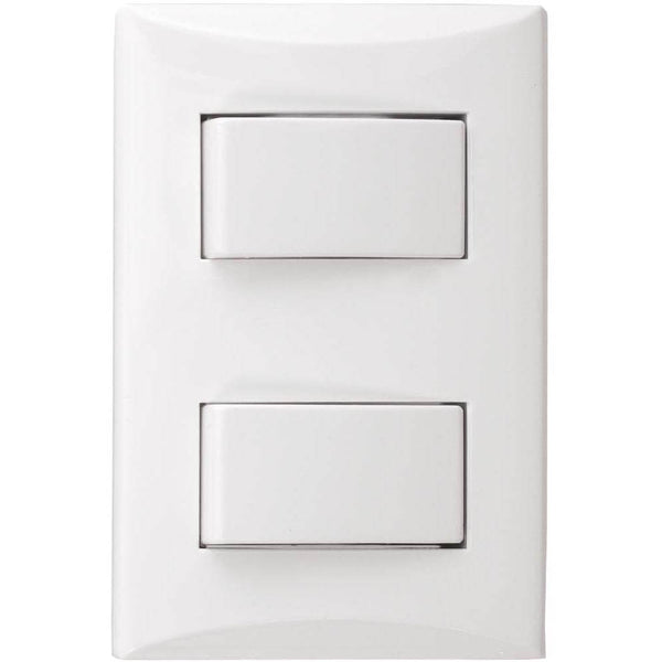 Interruptor Doble Eagle 3271W Decor con Tapa Blanca - EAG-3271W