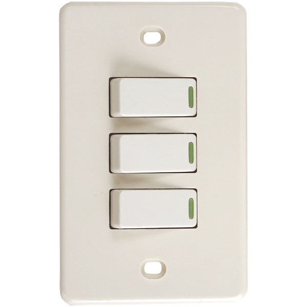 Interruptor Triple Eterna Eagle 2360 15A Ivory - EAG-2360