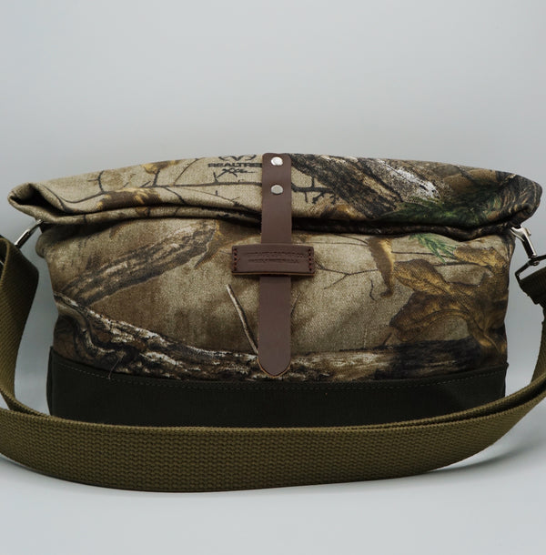 Heritage Leather Co.- Travel Shoulder Bag- Real Tree Camo