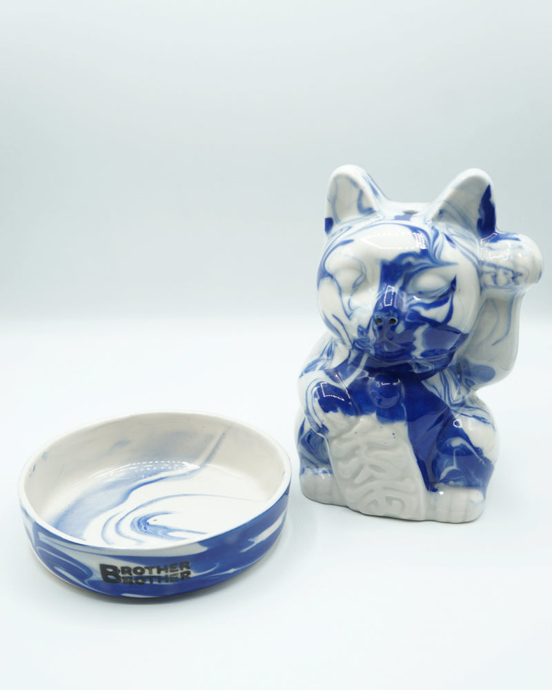 Brother Brother- Lucky Cat Incense Chamber- Cobalt Swirl Porcelain
