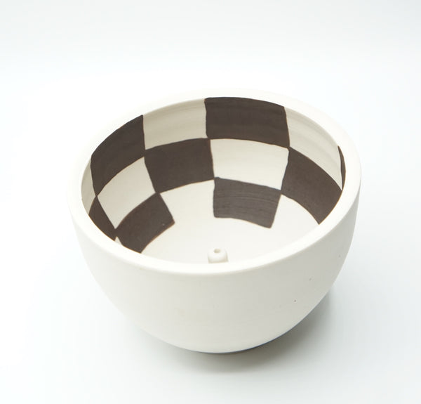 Mellow Ceramics- Large Incense Bowl- White Check Inside