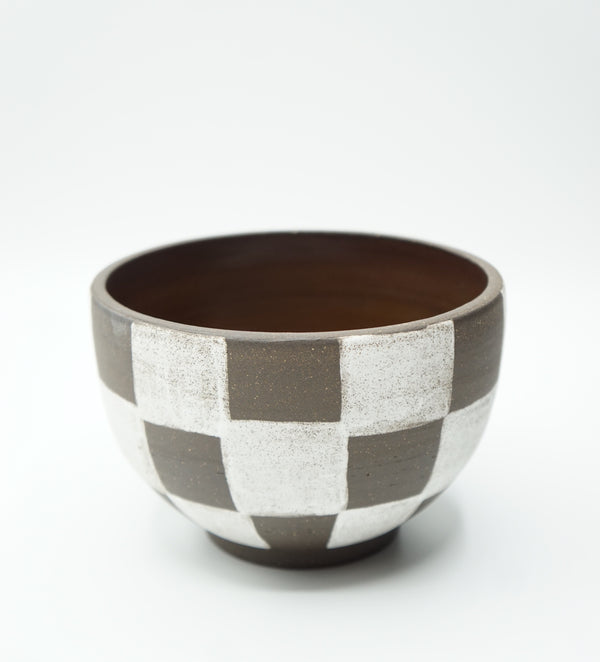 Mellow Ceramics- Large Incense Bowl- Brown Check Outside