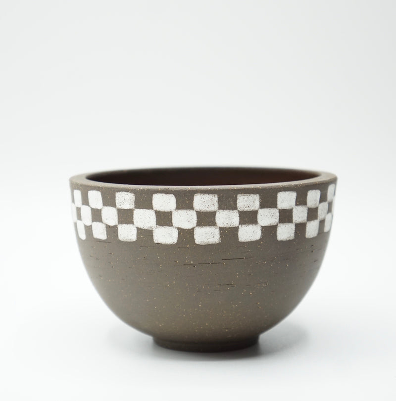 Mellow Ceramics- Medium Incense Bowl- Brown Half Check