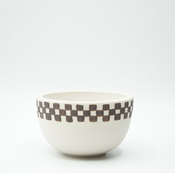 Mellow Ceramics- Medium Incense Bowl- White Half Check