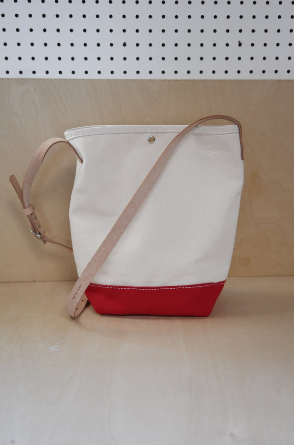 Heritage Leather Co.- Bucket Shoulder Bag- Natural/Red