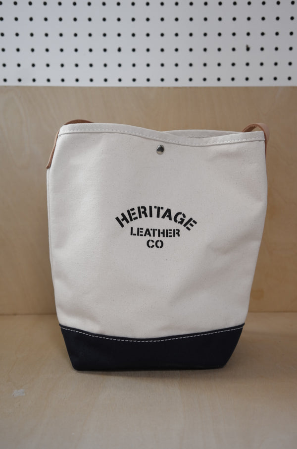 Heritage Leather Co.- Bucket Shoulder Bag- Natural/Navy