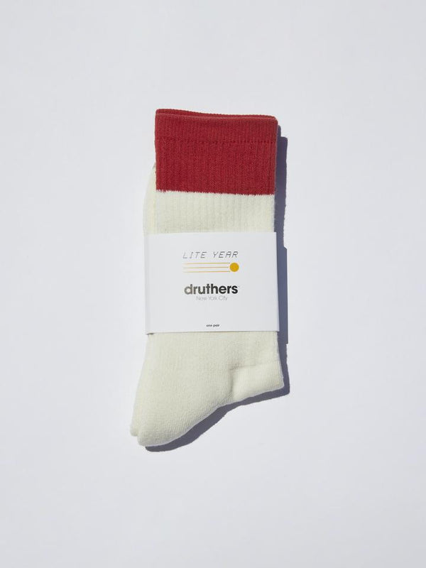Lite Year - Druthers NYC Organic Cotton Socks - Red/White/Khaki