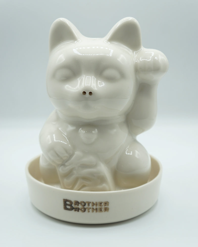 Brother Brother- Lucky Cat Incense Chamber- White Porcelain