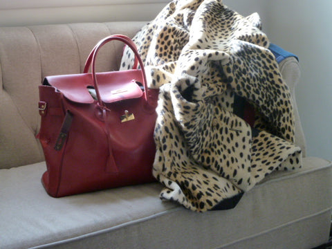 Heidi Rettig's Faux leopard coat and vintage bag.