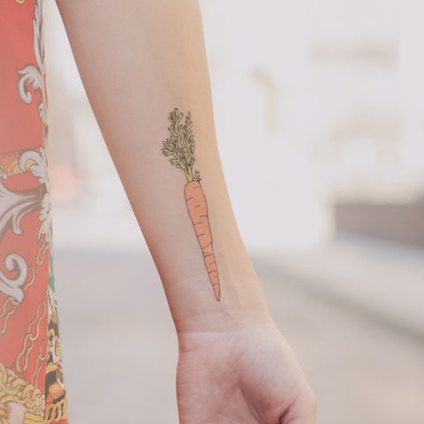 Veggie temporary tattoos are great stocking stuffers for vegans.