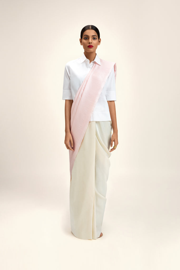 Reversible Silk Sari - Ivory, Pale Pink + Chrome Yellow