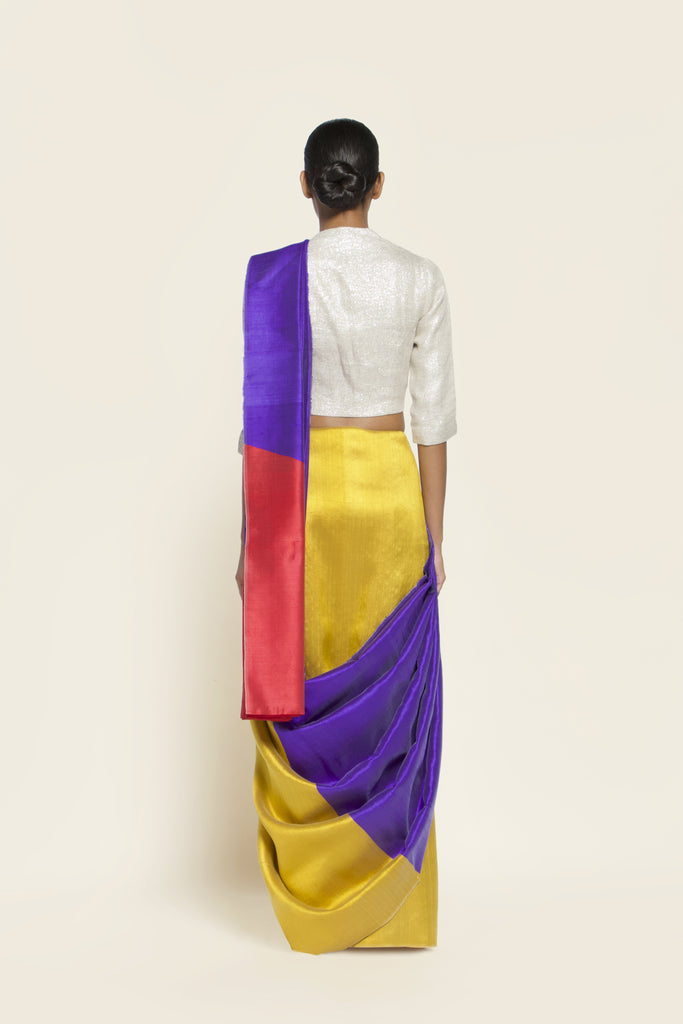 Reversible Silk Sari - Ultraviolet + Canary Yellow
