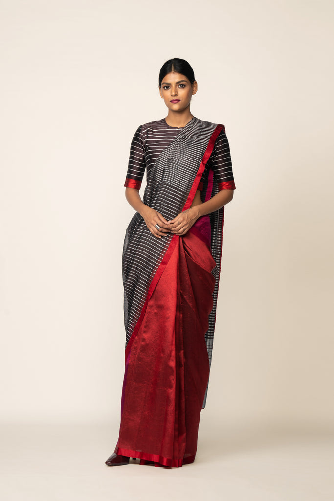 Reversible Silk Sari - Coffee, Crimson + Magenta