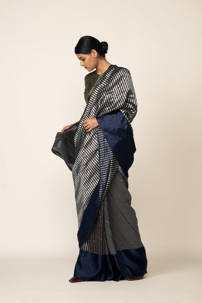 Handwoven Silk Sari - Coffee + Grey
